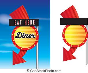 estilo, diner, vindima, americano, retro, sinais, 1950s