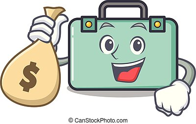 estilo, dinero, carácter, bolsa, maleta, caricatura