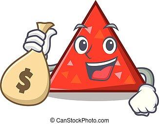 estilo, dinero, carácter, bolsa, triangel, caricatura