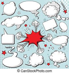estilo, discurso, burbujas, cómicos