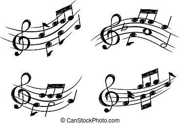 estilo, doodle, elemento, nota, desenho, música