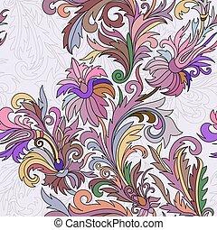 estilo, doodle, pattern., seamless, mão, fantasia, flowers., vetorial, desenhado