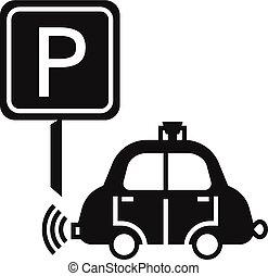 estilo, driverless, simple, coche, estacionamiento, icono