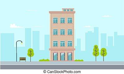 estilo, edificio, calle, moderno, buiding, apartamento, vector, ciudad, diseño, fondo., pueblo, illustration., plano