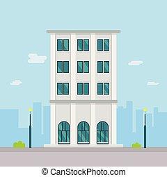 estilo, edificio, calle, moderno, buiding, vector, ciudad, diseño, fondo., plano, illustration., compañía, town.