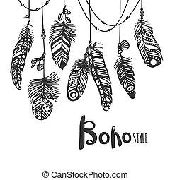 estilo, efecto, ilustración, mano, boho, vector, dibujado, ...