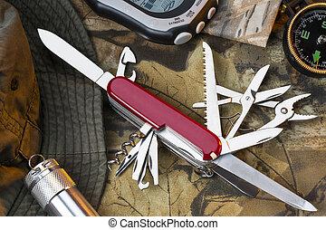 estilo, ejército, -, grande al aire libre, suizo, cuchillo