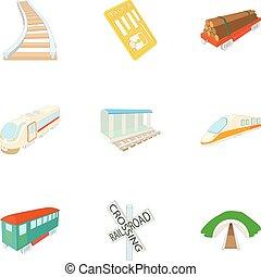 estilo, elétrico, ícones, jogo, trem, caricatura