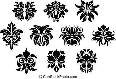 estilo, elementos, damasco, vendimia, diseño, floral, negro