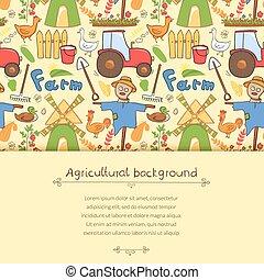 estilo, elementos, granja, garabato, ilustración, vector