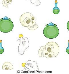 estilo, elementos,  Halloween, caricatura, patrón