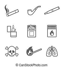 estilo, elementos, iconos, set., vector, 9, fumar, línea