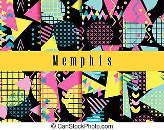 estilo, elementos, pattern., seamless, ilustración, 80's., ...
