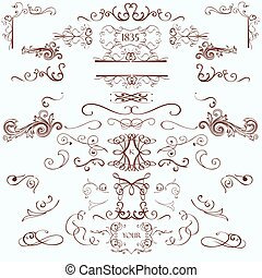 estilo, elementos, vindima, cobrança, calligraphic, flourishes, retro, decorações, página
