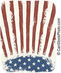 estilo, eps10, cartel, fondo., norteamericano, vector, vendimia, patriótico, plantilla
