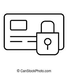 estilo, esboço, ícone, crédito, símbolo, isolado, experiência., vetorial, comércio eletrônico, segurança, estoque, branca, cartão, illustration.