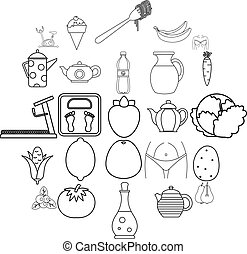 estilo, esboço, ícones, alimento, dieta, jogo