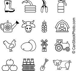 estilo, esboço, ícones, fazenda, jogo, agrícola