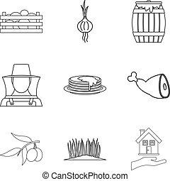 estilo, esboço, ícones, fazenda, jogo, cuidado
