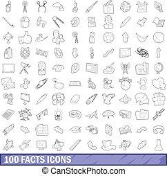 estilo, esboço, ícones, jogo, 100, fato
