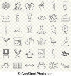 estilo, esboço, ícones, jogo, compor