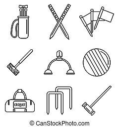 estilo, esboço, ícones, jogo, equipamento, croquet