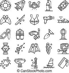 estilo, esboço, ícones, jogo, equipamento, snorkeling