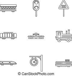 estilo, esboço, ícones, jogo, estrada ferro, transporte