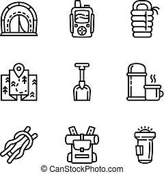 estilo, esboço, acampamento, jogo, equipamento, ícone