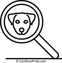 estilo, esboço, ampliar, cão, vidro, ícone