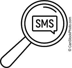 estilo, esboço, ampliar, sms, vidro, ícone