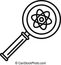 estilo, esboço, ampliar vidro, átomo, ícone