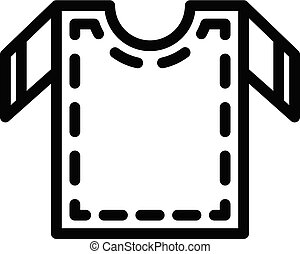 estilo, esboço, camisa, cosendo, corte, ícone, saída
