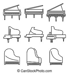 estilo, esboço, clássicas, jogo, ícones, piano grande