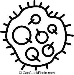 estilo, esboço, dentro, spores, ícone, bactérias