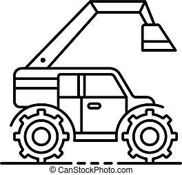 estilo, esboço, escavador, fazenda, modernos, ícone
