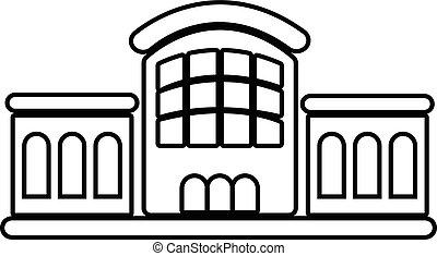 estilo, esboço, estação, estrada ferro, ícone