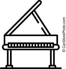 estilo, esboço, grandioso, ícone, piano, abertos