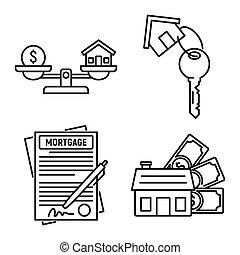 estilo, esboço, hipoteca, ícones, jogo, aprovado