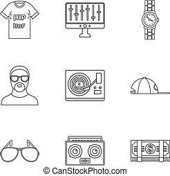 estilo, esboço, jogo, batida, gangsta, ícone