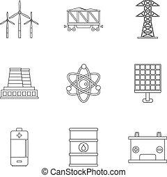 estilo, esboço, jogo, energia, fontes, ícone