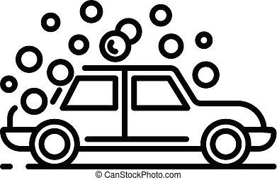 estilo, esboço, lavagem carro, ícone, bolha