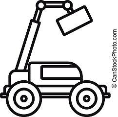 estilo, esboço, máquina, elevador, ícone, agrícola