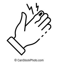 estilo, esboço, mão, dedo, ícone, frostbite