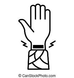 estilo, esboço, mão, pulso, ícone, frostbite