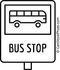 estilo, esboço, ponto ônibus, sinal, tráfego, ícone