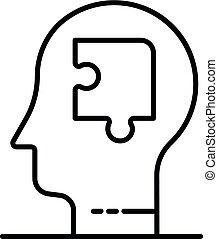 estilo, esboço, quebra-cabeça, mente, ícone, homem