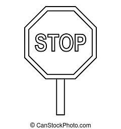 estilo, esboço, sinal parada, tráfego, ícone