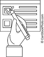 estilo, esboço, sinal, voto, papel, ícone