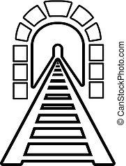 estilo, esboço, túnel, estrada ferro, ícone